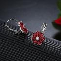 Náušnice Swarovski Elements Fiore Garnet - květina