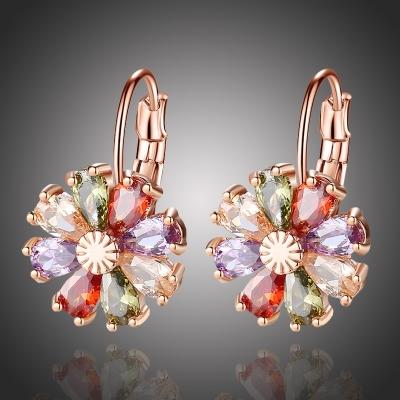 Náušnice Swarovski Elements Fiore Multicolore - květina