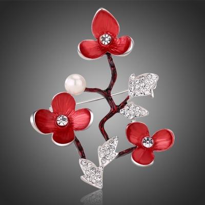 Brož Swarovski Elements Anabell - švestkové květy