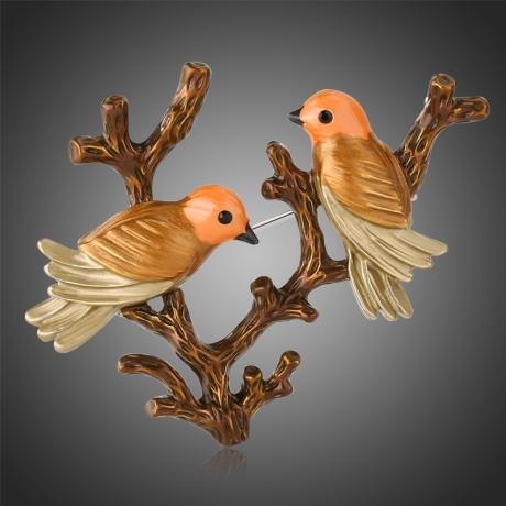 Malovaná brož Calogera - ptáčci