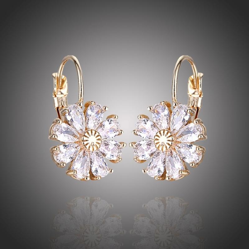 Náušnice Swarovski Elements Fiore Gold - květina