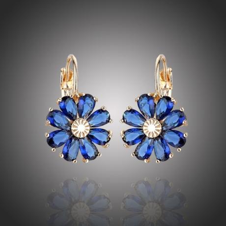 Náušnice Swarovski Elements Fiore Gold Sapphire - květina