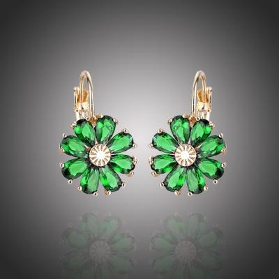 Náušnice Swarovski Elements Fiore Gold Smaragd - květina