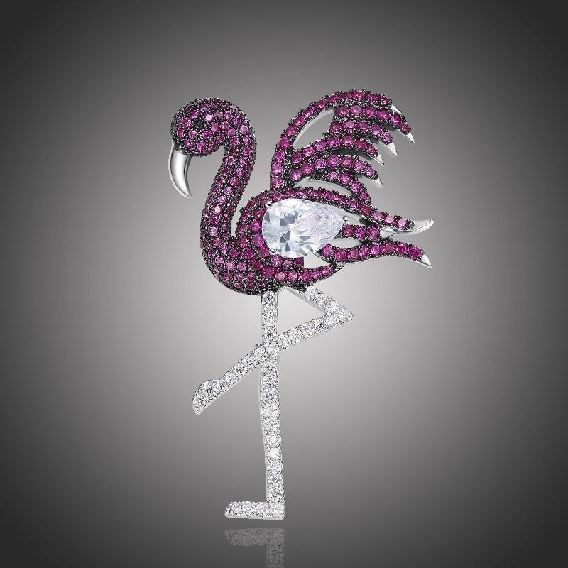 Exkluzivní brož Swarovski Elements Flamingo - plameňák