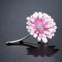 Malovaná brož v podobě růžové květiny Chryzantéma