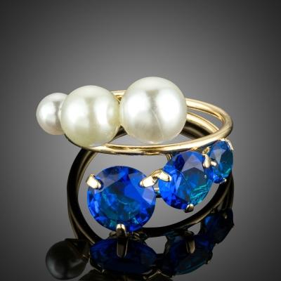 Prsten s perlou a Swarovski Elements krystaly Efrain