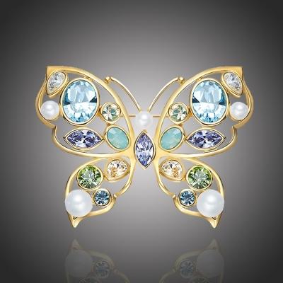 Brož Swarovski Elements Vigia Gold - motýl