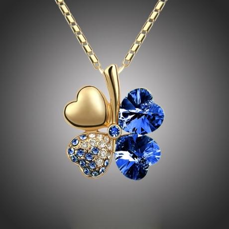 Náhrdelník Swarovski Elements Čtyřlístek pro štěstí Gold - tmavě modrý