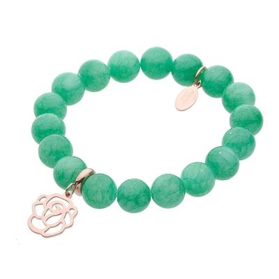 Náramek Serena chirurgická ocel a přírodní smaragdový Jadeit - květina
