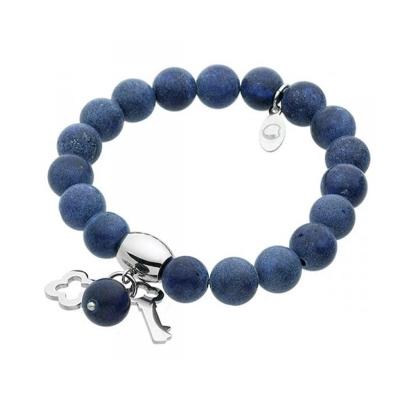 Náramek Caroline chirurgická ocel a přírodní Lapis Lazuli