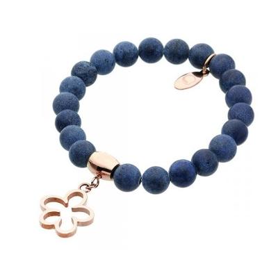 Náramek Eugenia chirurgická ocel a přírodní Lapis Lazuli - květina