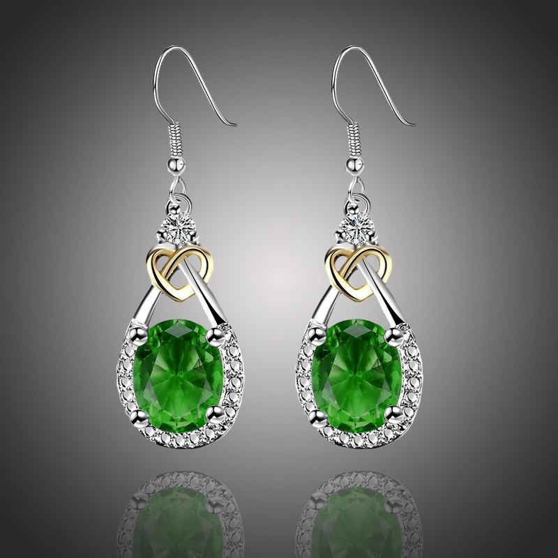 Náušnice Swarovski Elements Santini Smaragd - srdíčko