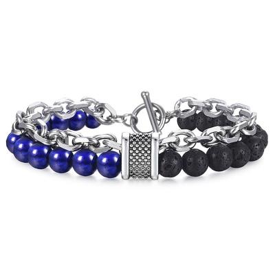 Dvojitý pánský náramek Edmond, lávové kameny a lapis lazuli