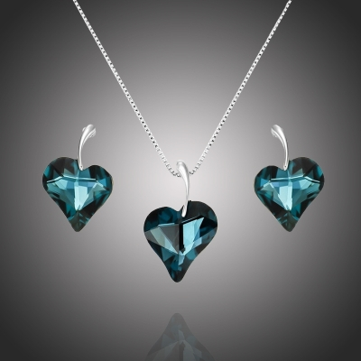 Exkluzivní souprava šperků Swarovski Elements Valentina Blue - srdíčko