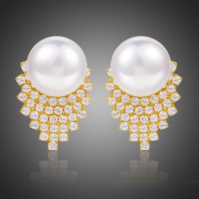 Náušnice s perlou a zirkony Helena