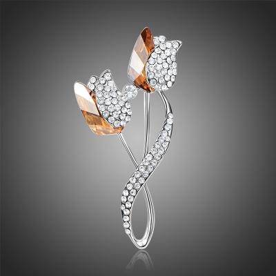 Brož Swarovski Elements Aggia - květina