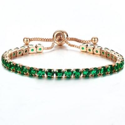 Náramek Swarovski Elements Cianoti Smaragd Gold