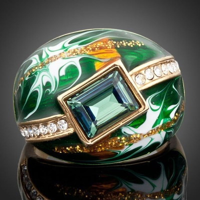Prsten Swarovski Elements Rosalia Green