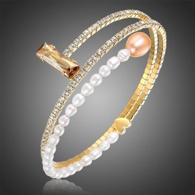 Bangles náramek s perlou a krystaly Swarovski Vinicio
