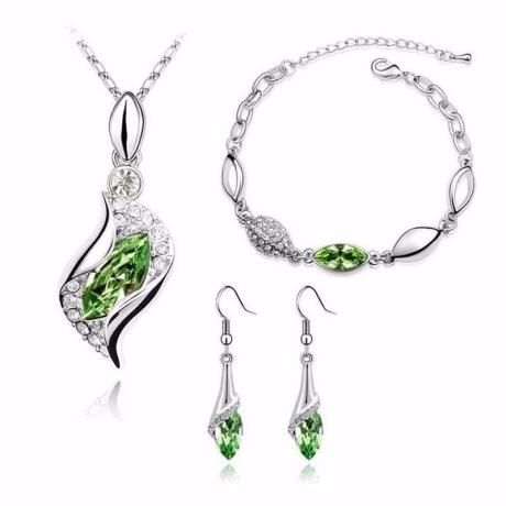 Souprava náhrdelníku, náušnic a náramku Andělské slzy Smaragd
