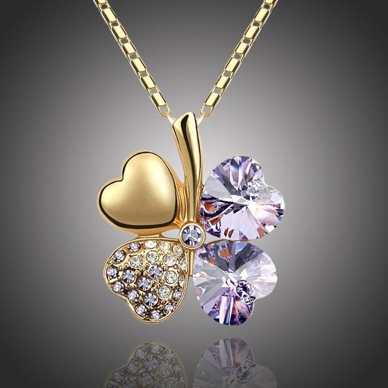 Náhrdelník Swarovski Elements Čtyřlístek - zlato světle fialový