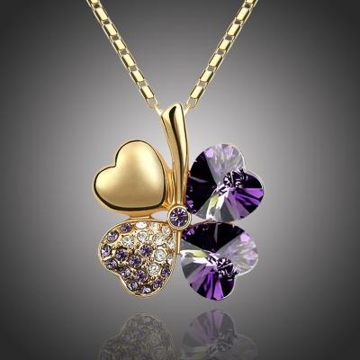 Náhrdelník Swarovski Elements Čtyřlístek - zlato tmavě fialový