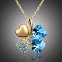 Náhrdelník Swarovski Elements Čtyřlístek - zlato seablue