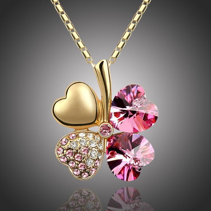 Náhrdelník Swarovski Elements Čtyřlístek - zlato růžový