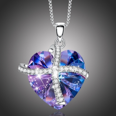 Exkluzivní náhrdelník Swarovski Elements Francesca Violet - srdíčko
