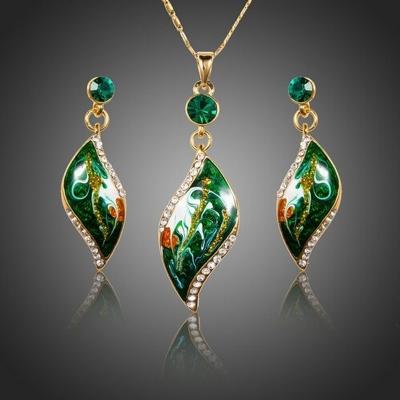 Souprava náhrdelníku a náušnic Feminine Beauty Royal Green
