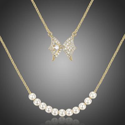 Dvojitý náhrdelník s perlou a zirkony Abatescciani