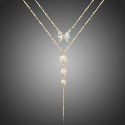 Dvojitý náhrdelník s perlou a zirkony Marchioni