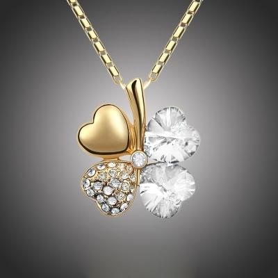 Náhrdelník Swarovski Elements Čtyřlístek pro štěstí - zlato čirý