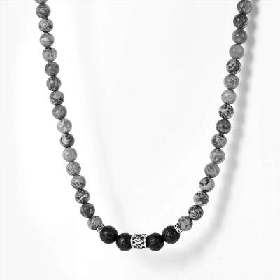 Pánský korálkový náhrdelník Francis - lávový kámen a labradorit
