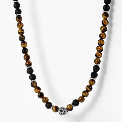 Pánský korálkový náhrdelník Christian - lávový kámen a tygří oko