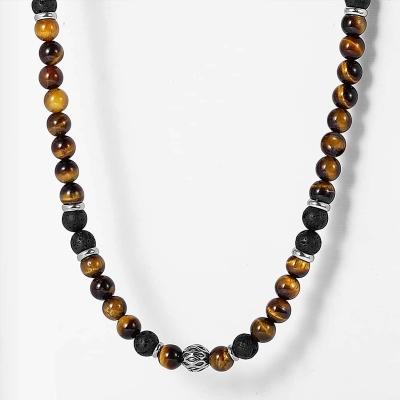 Pánský korálkový náhrdelník Norbert - lávový kámen a tygří oko