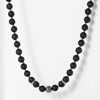 Pánský korálkový náhrdelník Steven - lávový kámen