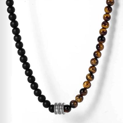 Pánský korálkový náhrdelník Gerard - Tygří oko a Achát
