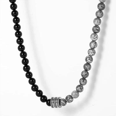 Pánský korálkový náhrdelník Olivier - Labradorit a Achát