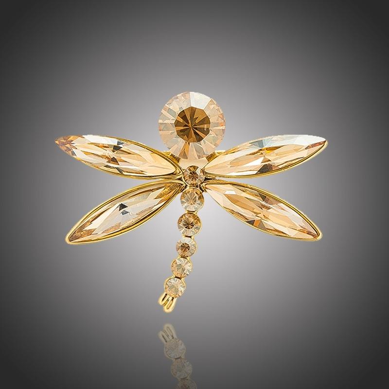 Luxusní brož Paloma v podobě vážky se champagne krystaly Swarovski