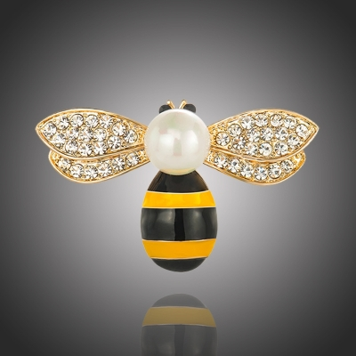 Brož se zirkony a perlou Claudine - včela
