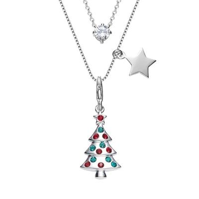 Exkluzivní vánoční náhrdelník Swarovski Elements - vánoční stromeček