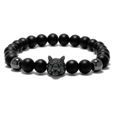 Pánský náramek Black Wolf - achát, zirkony, vlk