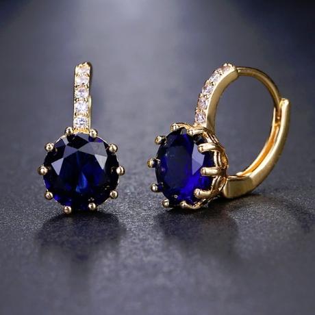 Náušnice Swarovski Elements Bernadette Gold Sapphire