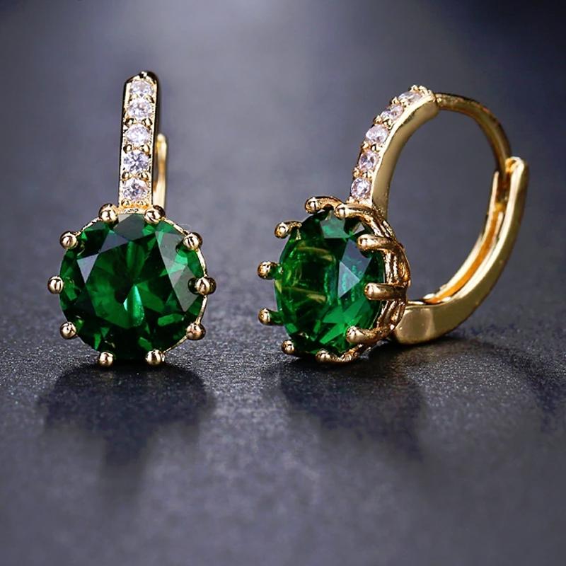 Náušnice Swarovski Elements Bernadette Gold Smaragd