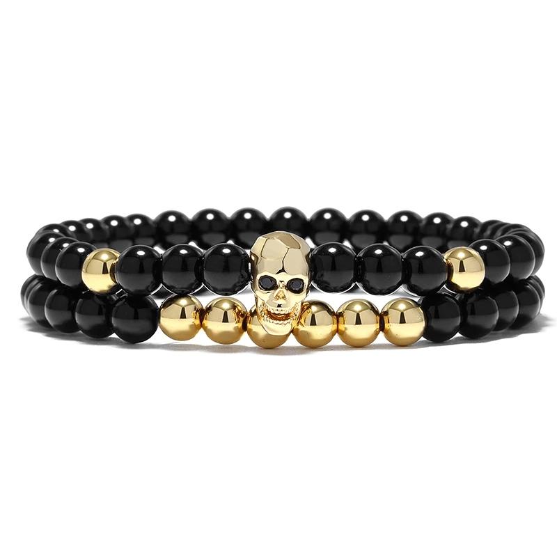 Pánský dvojitý náramek Gold Skull - lebka