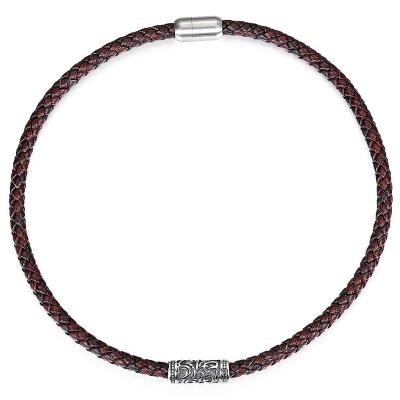 Pánský choker náhrdelník Brandon - chirurgická ocel a kůže