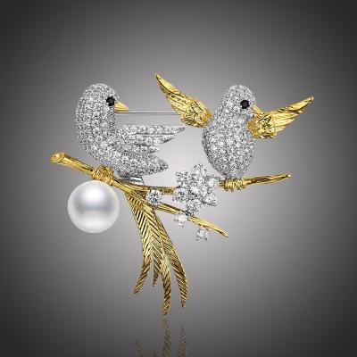 Exkluzivní brož Swarovski Elements D´Onofrio - ptáčci