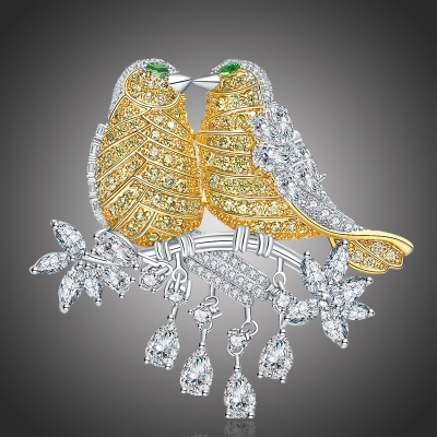 Exkluzivní brož Swarovski Elements Zamilovaní ptačci