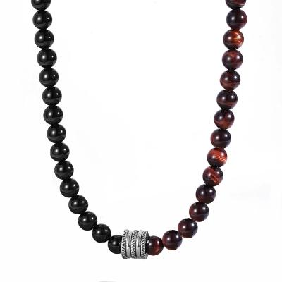 Pánský korálkový náhrdelník Harry - Tygří oko a Achát